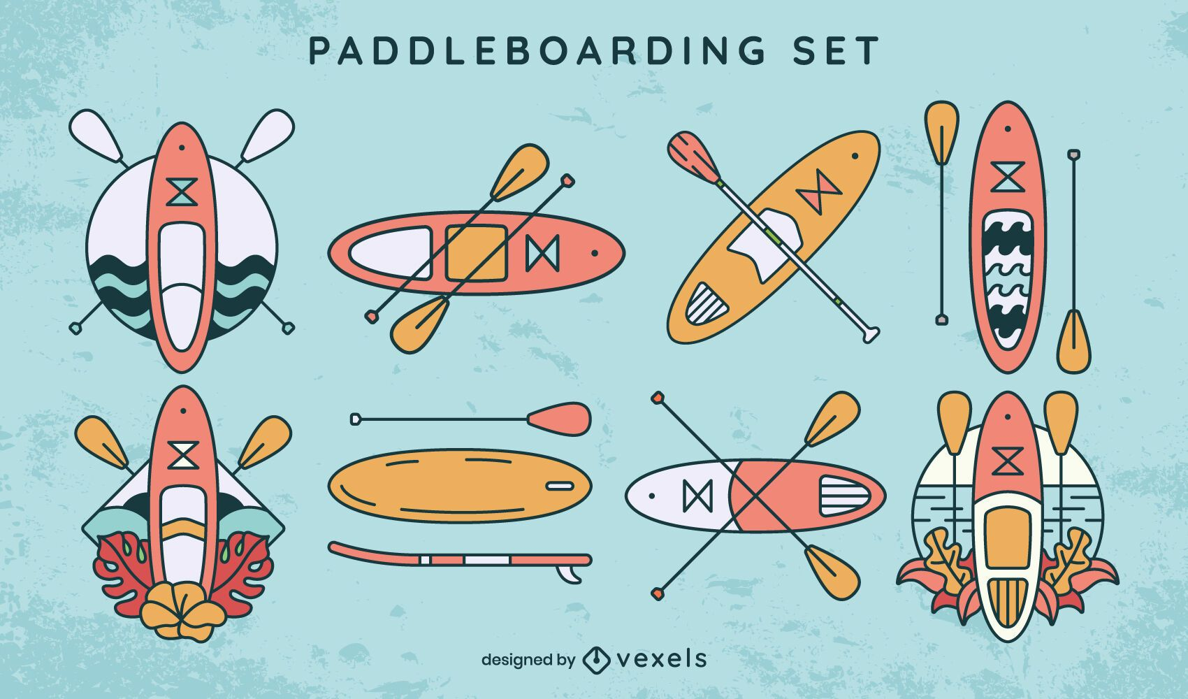 Conjunto de equipamentos de paddleboarding esporte aquático