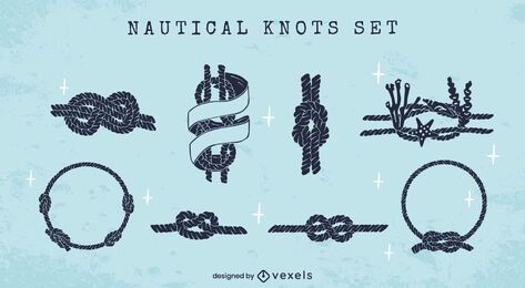 Sailing knots nautical silhouette set