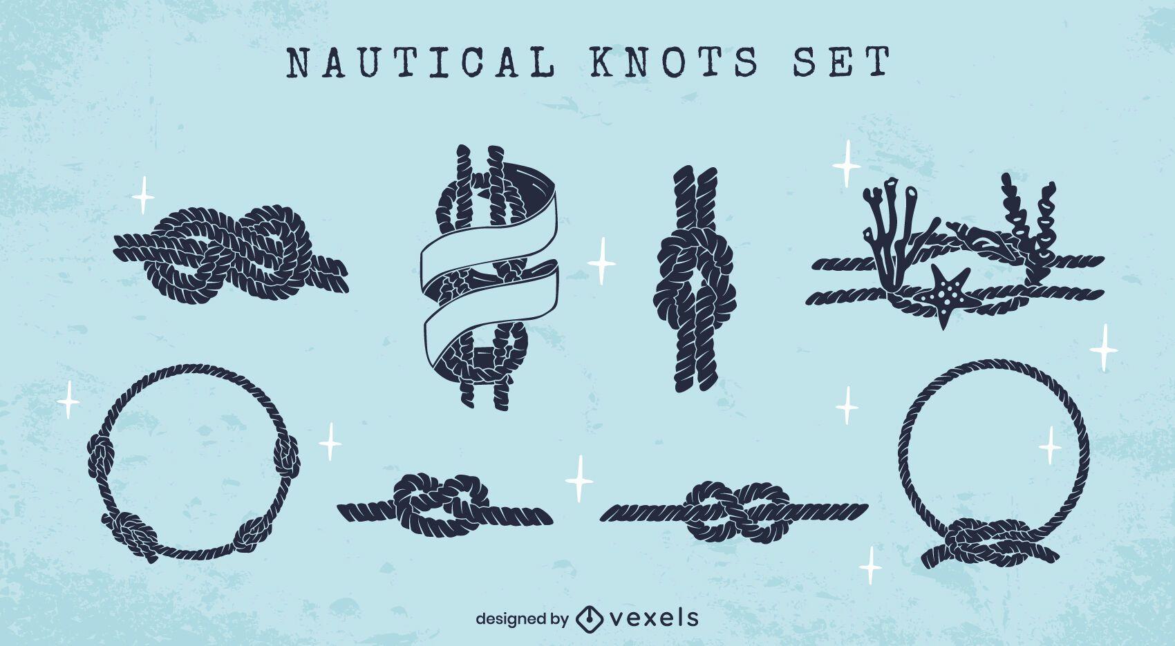 Sailing knots nautical silhouette set
