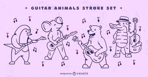 Conjunto de arte de linha de personagem de música animal