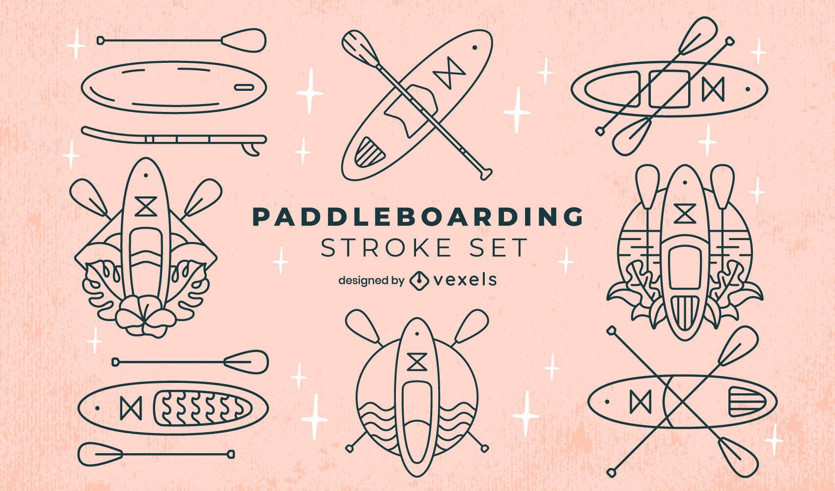 Equipo de paddleboarding juego de arte de línea de deportes acuáticos.