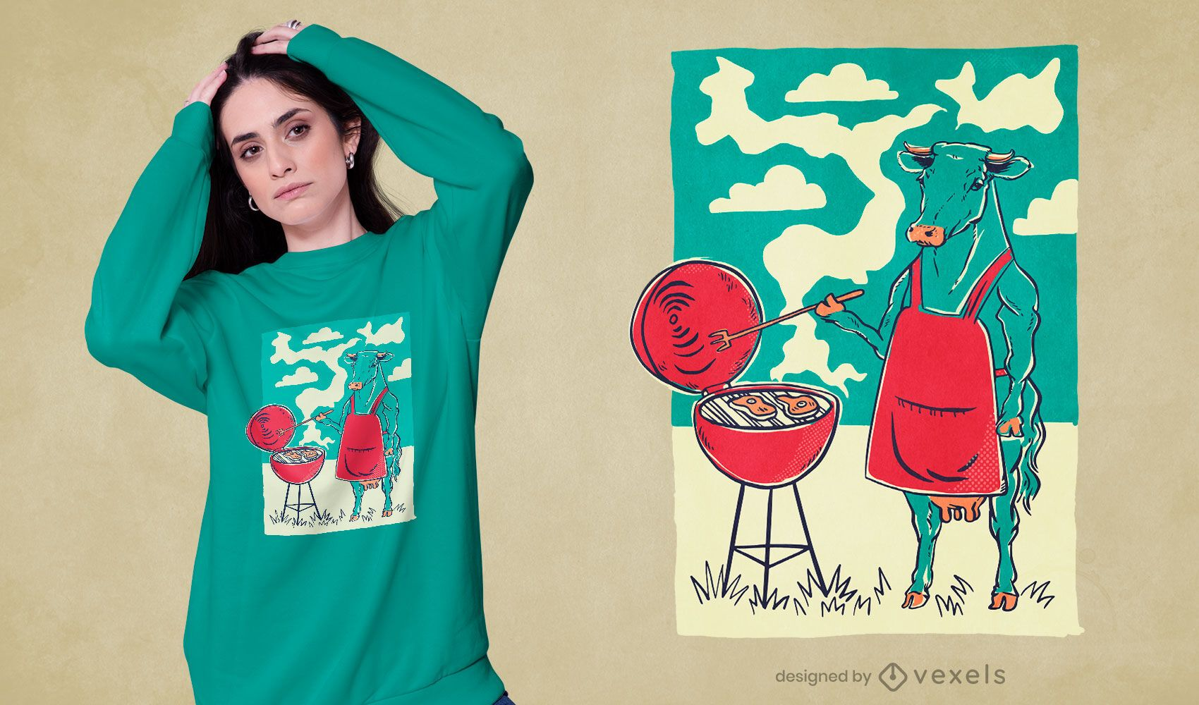 Cow barbecue grill t-shirt design
