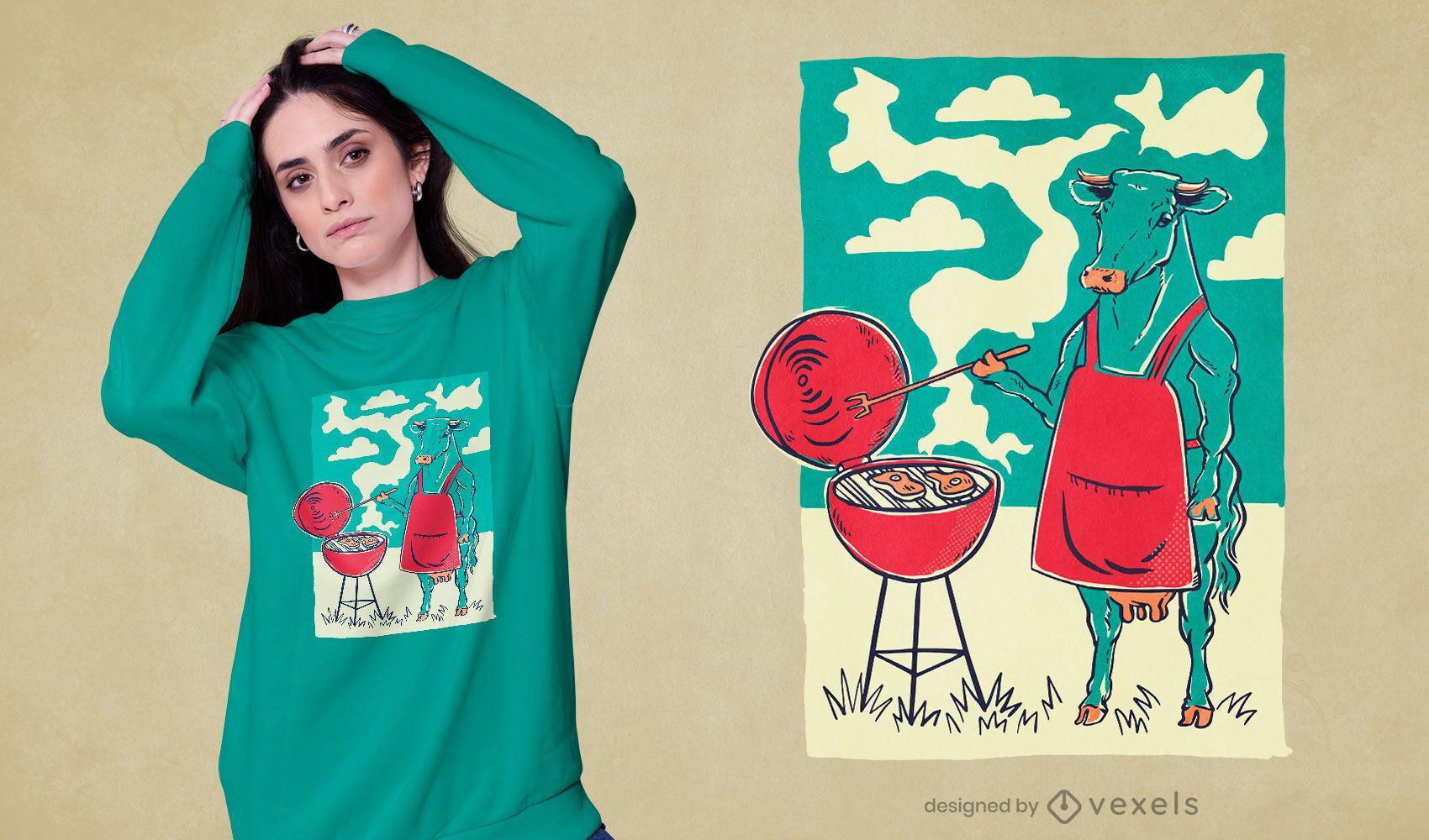 Diseño de camiseta de parrilla de barbacoa de vaca.