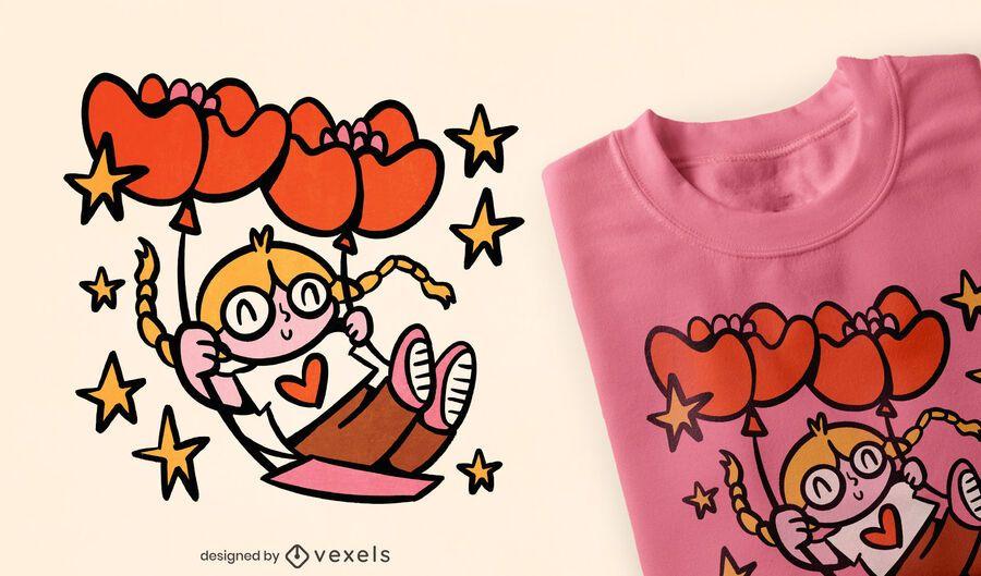 Girl on heart ballon swing t-shirt design