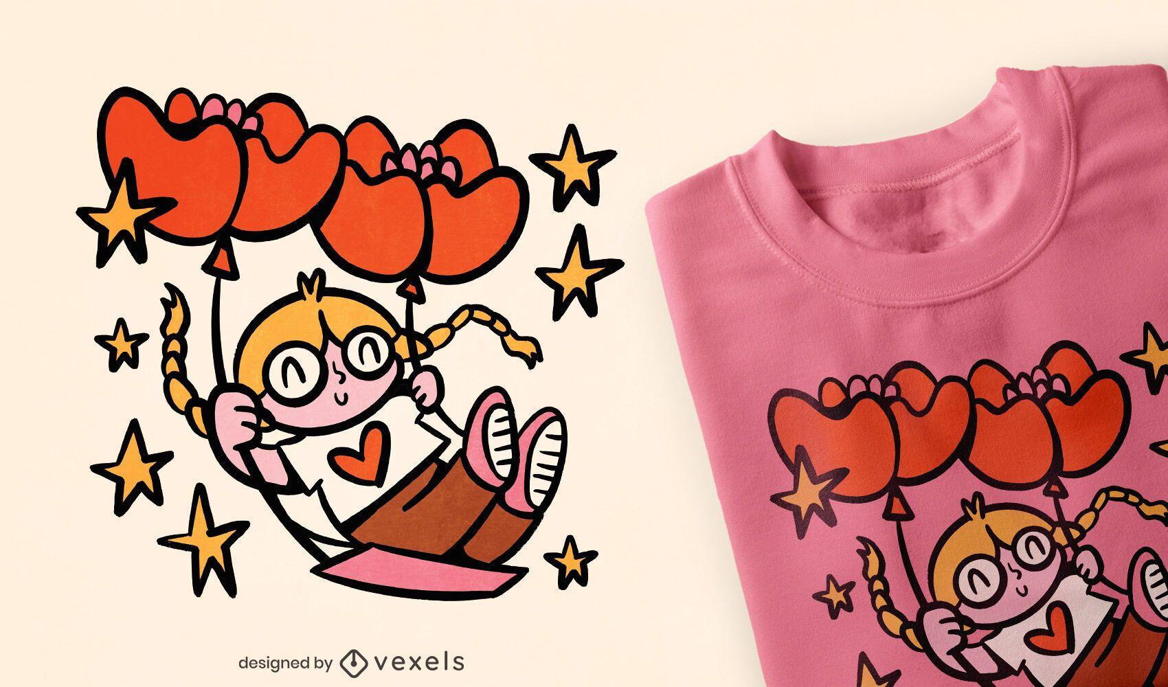 Mädchen auf Herzballon schwingen T-Shirt Design