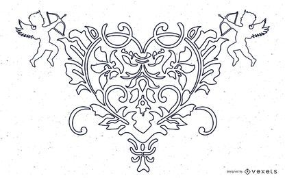 FANTASY HEART ANGEL VECTOR LIBRE DE ORNATE