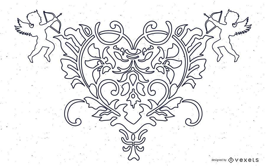 FANTASY HEART ANGEL VECTOR LIBRE DE ORNATE