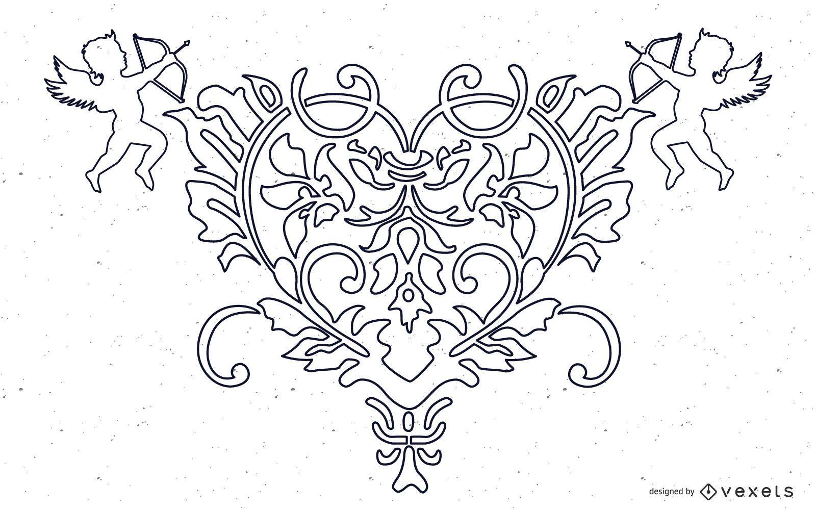 VECTOR GRATIS DE FANTASY HEART ANGEL ORNATE