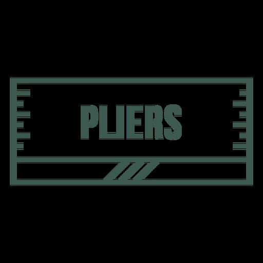 Pliers label stroke