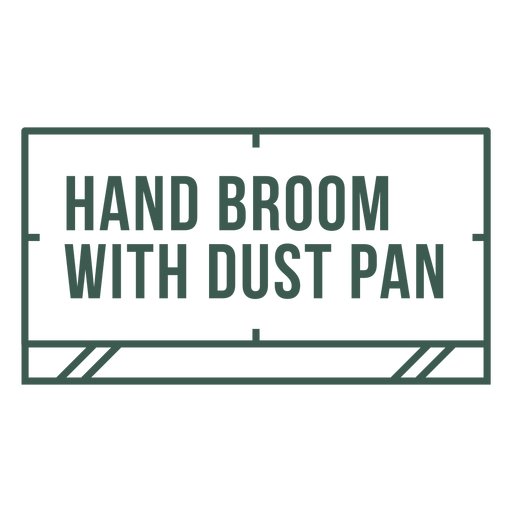 Hand broom with dust pan label stroke