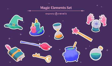 Conjunto de fantasía de bruja de elementos mágicos.