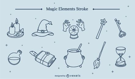 Conjunto de arte de línea de bruja de elementos mágicos.
