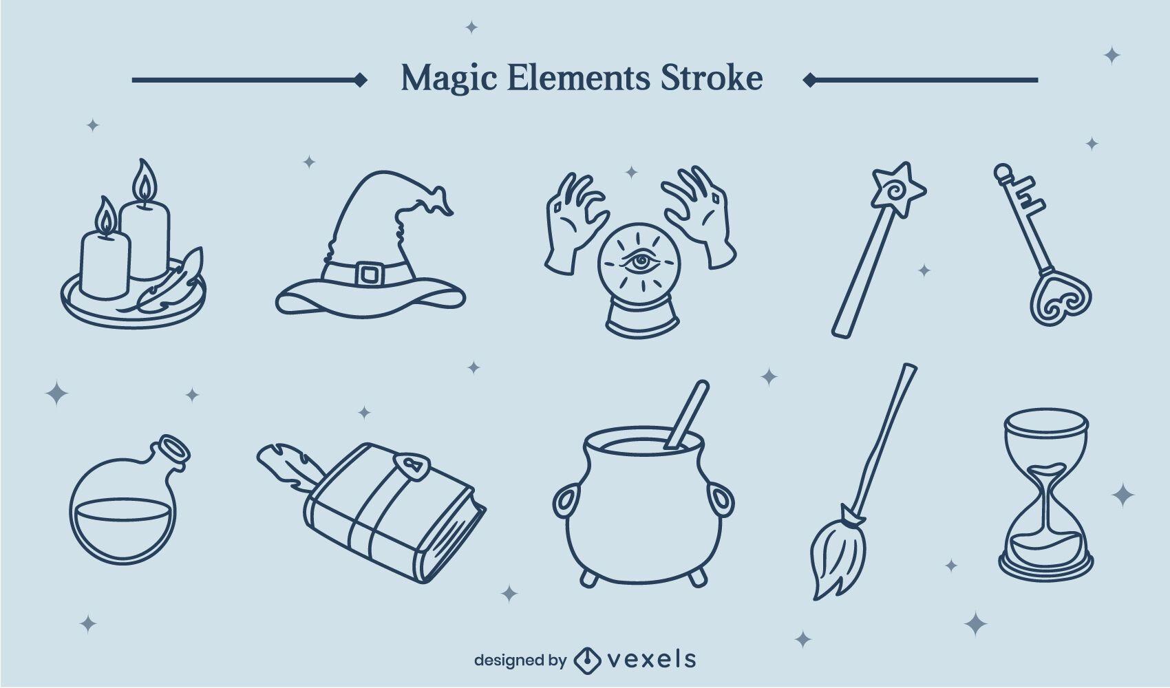 Conjunto de arte de linha de bruxa de elementos mágicos