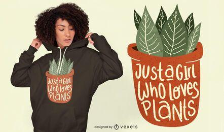 Garota adora design de camisetas de plantas