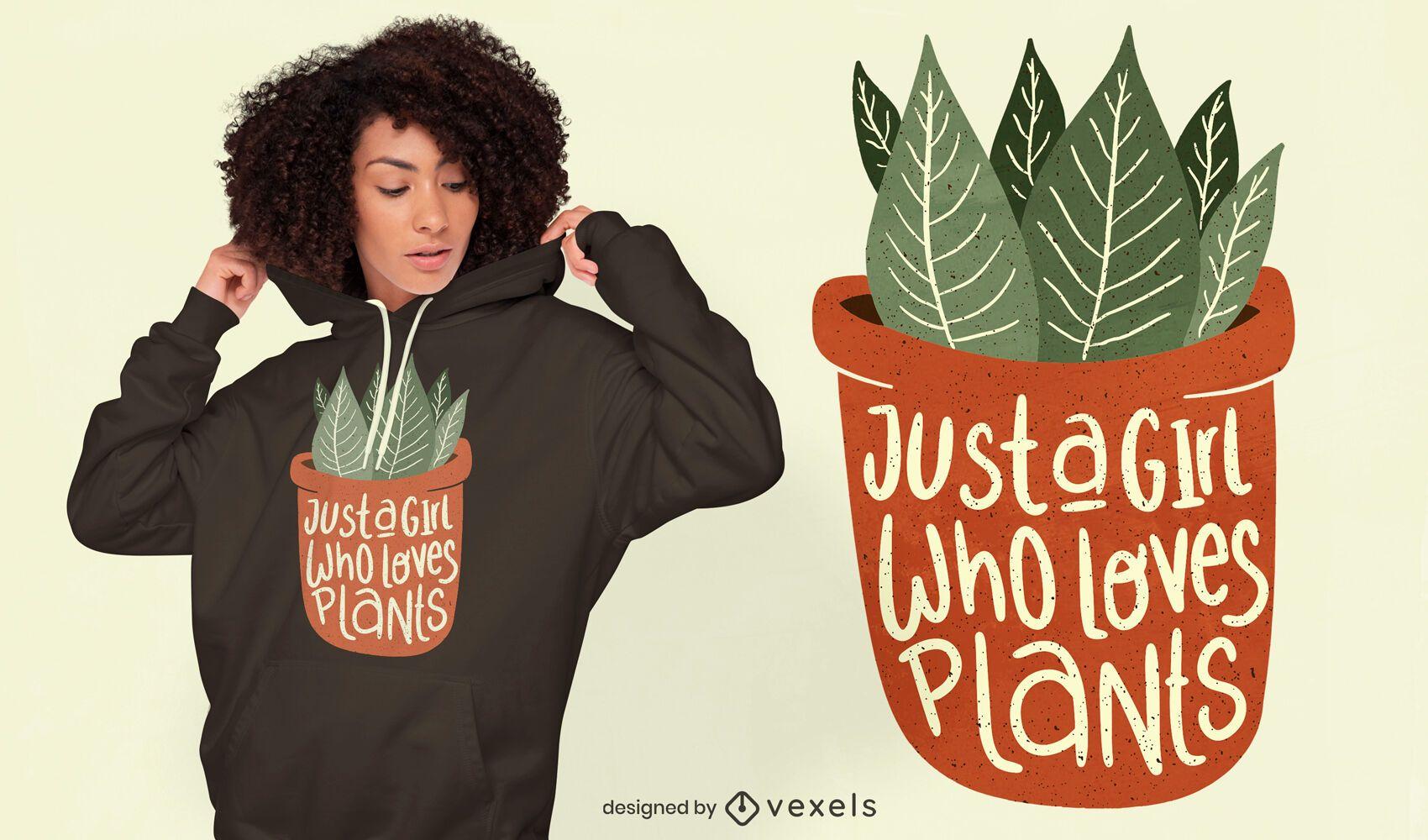 Chica ama el diseño de camiseta de plantas