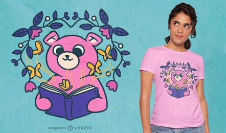 Diseño de camiseta lindo oso leyendo