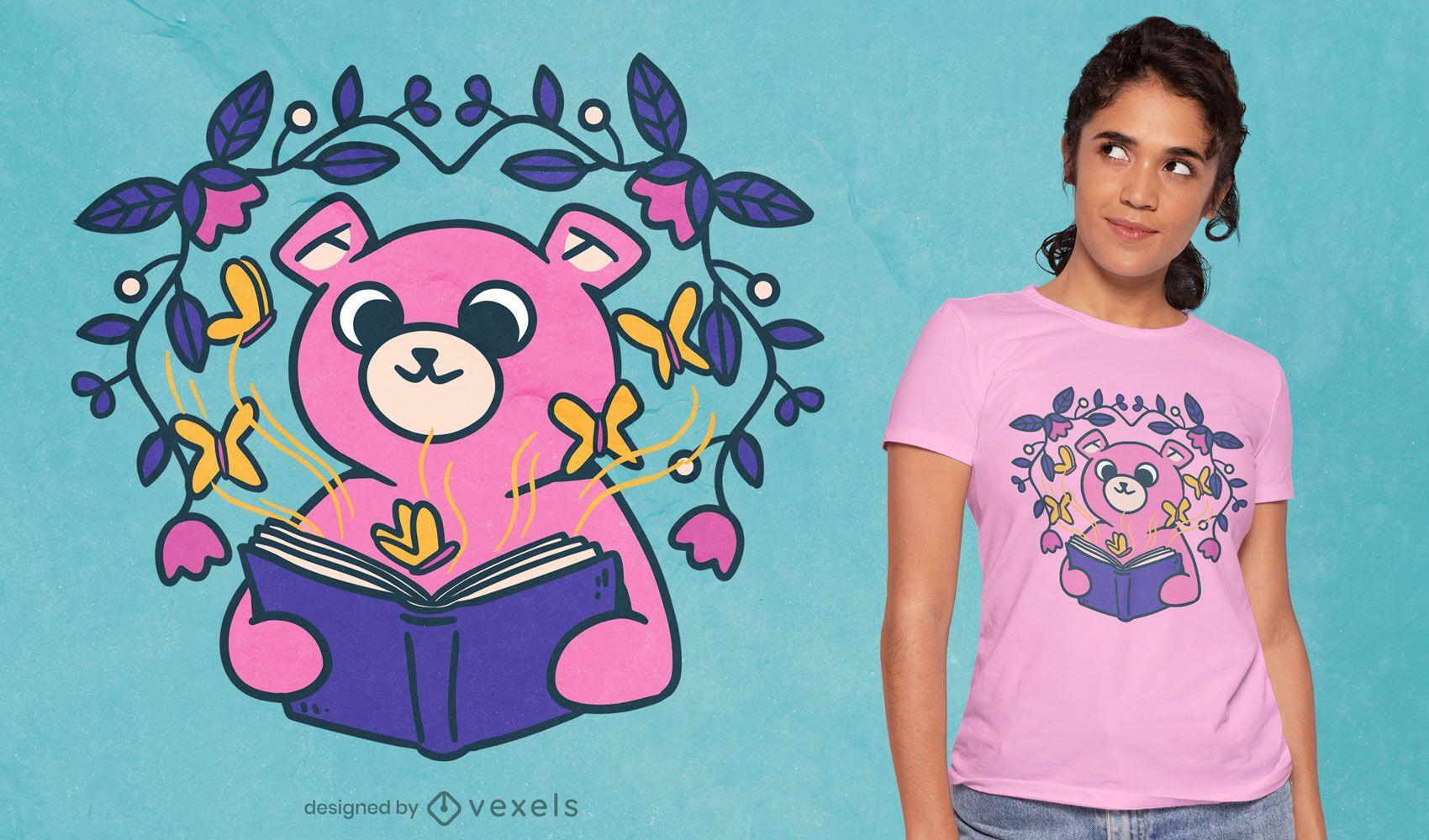 Cute bear reading t-shirt design