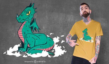 Design poderoso de t-shirt de dragão fofo