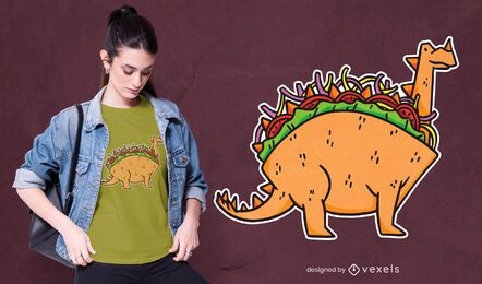Diseño de camiseta de dinosaurio taco.