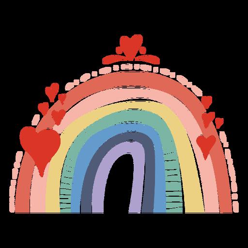 Rainbow with hearts flat
