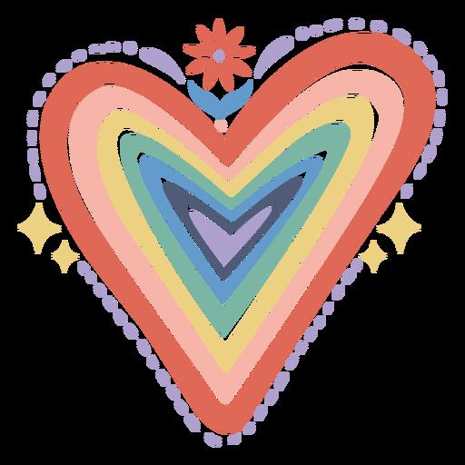 Rainbow heart flat