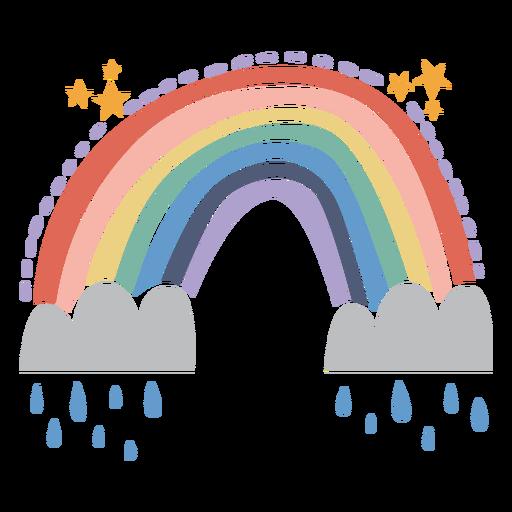 Rainbow on clouds flat