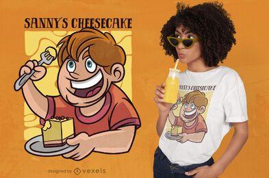 Diseño de camiseta de dibujos animados niño comiendo pastel