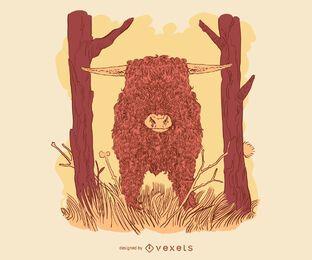 Ilustración de ganado de las tierras altas escocesas