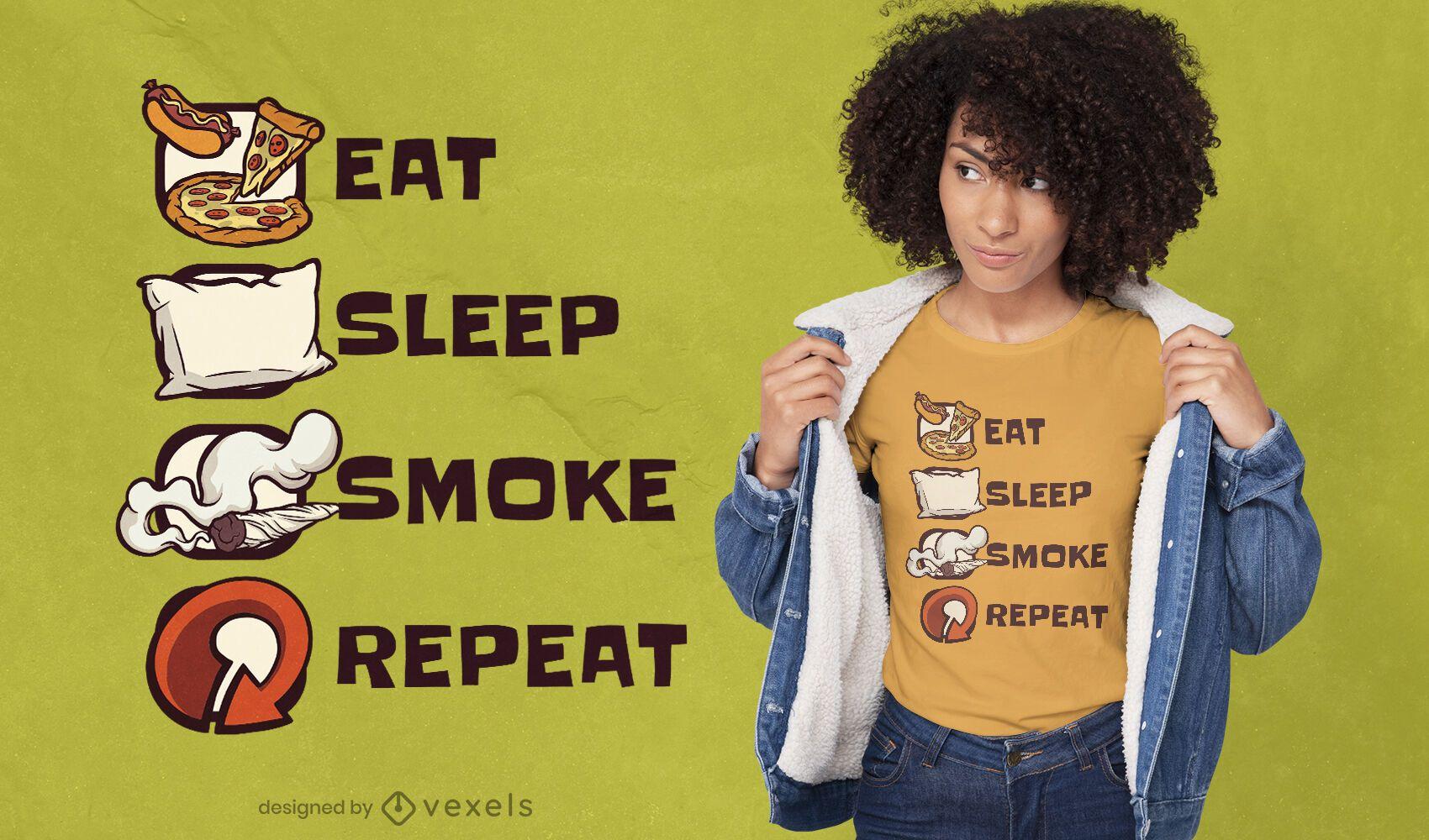 Eat sleep smoke repeat t-shirt design