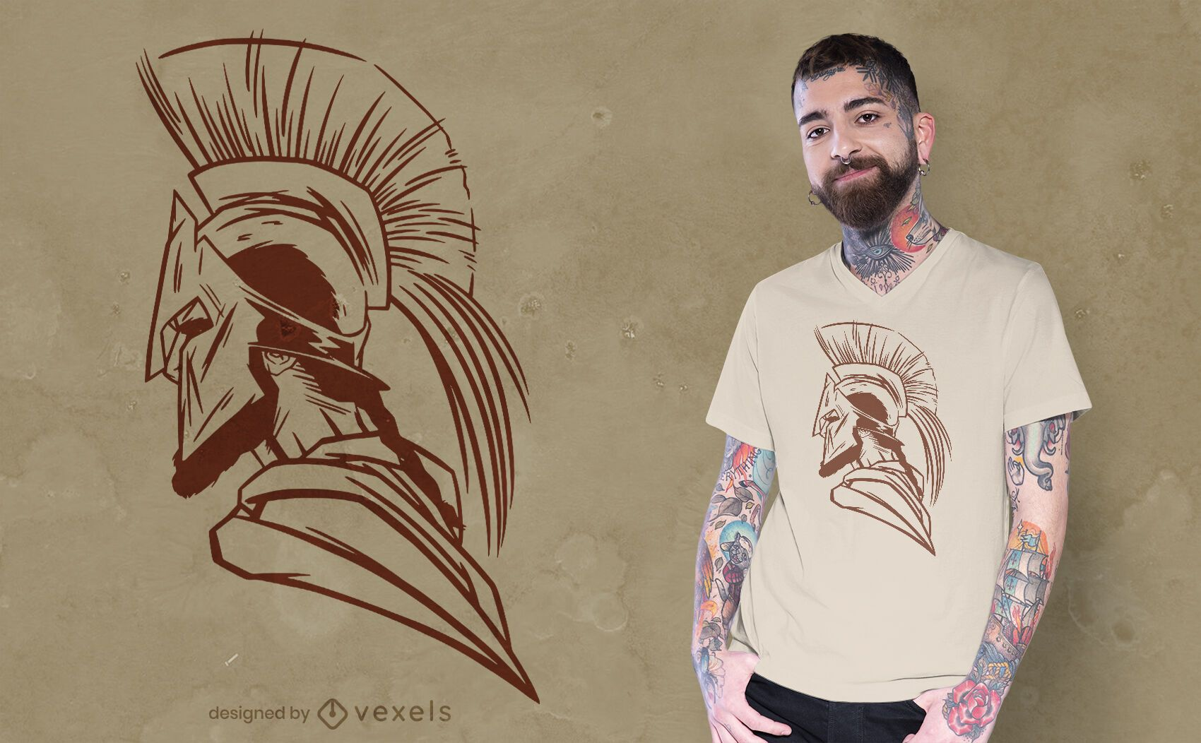 Diseño de camiseta lateral de casco espartano.