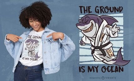 Desenho de t-shirt de artes marciais de tubarão