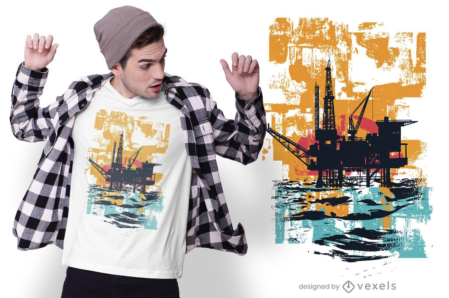 Diseño de camiseta de silueta de estación de plataforma petrolera