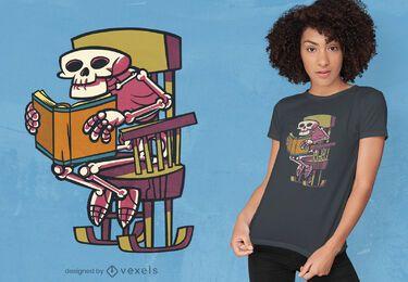 Desenho de t-shirt de livro de leitura de esqueleto