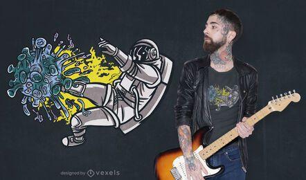 Diseño de camiseta astronauta luchando covid.