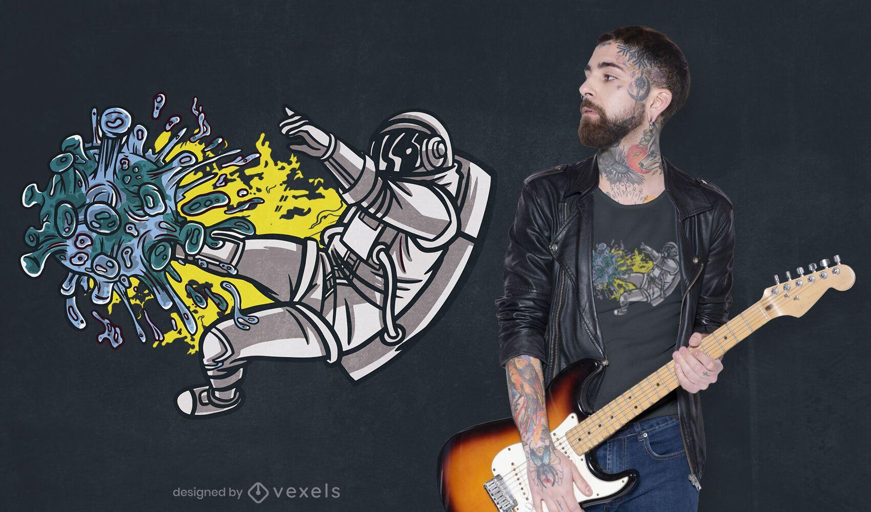 Astronaut, der Covid T-Shirt Design kämpft