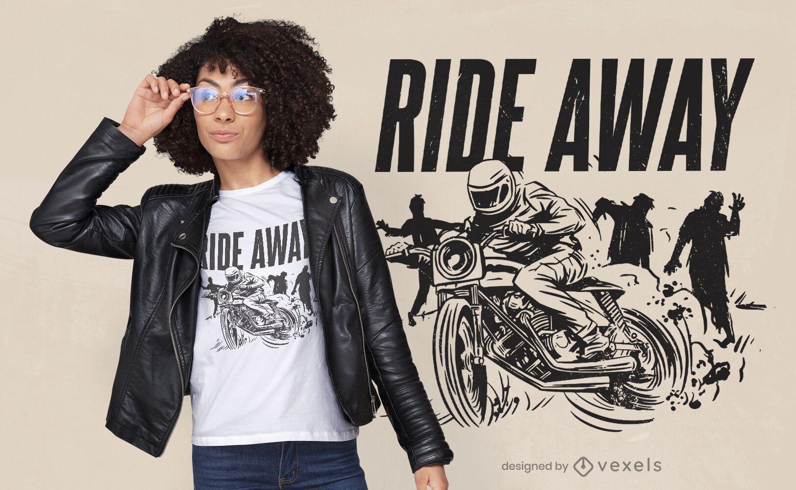 Diseño de camiseta de motocicleta zombies.