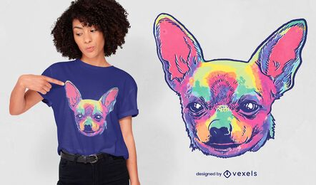 Design de camiseta de chihuahua tie dye