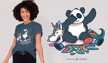 Diseño de camiseta de unicornio estrellado de panda