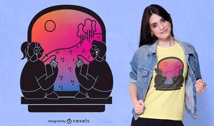 Diseño de camiseta de personas en audiolibro.