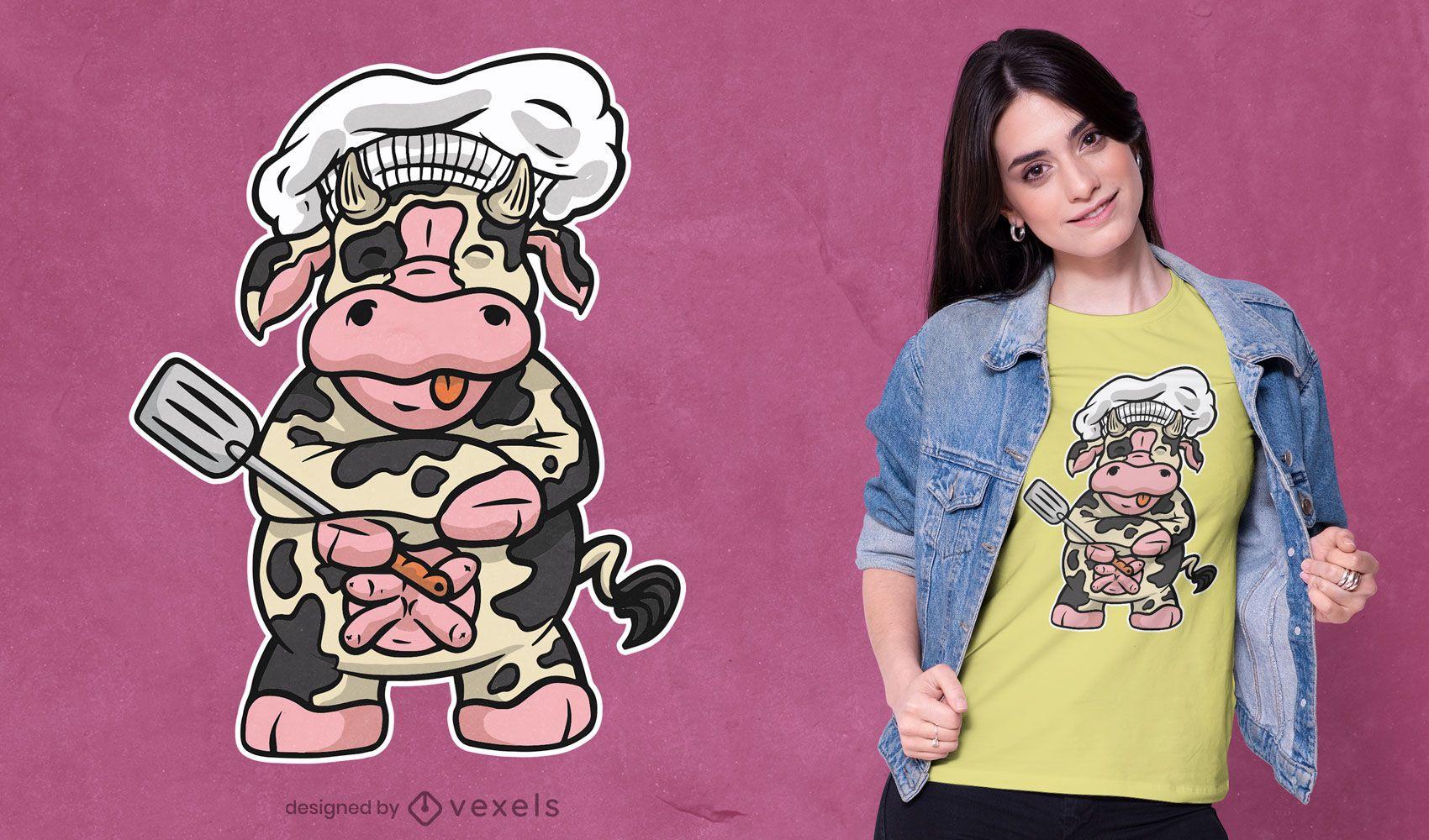 Diseño de camiseta de vaca chef.