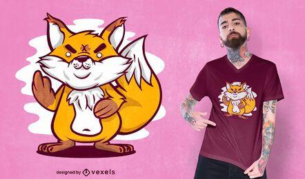 Design de t-shirt de raposa dedo médio
