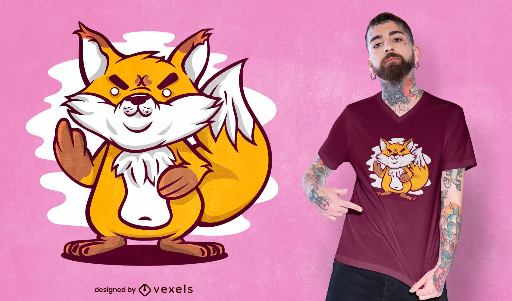 Middle finger fox t-shirt design