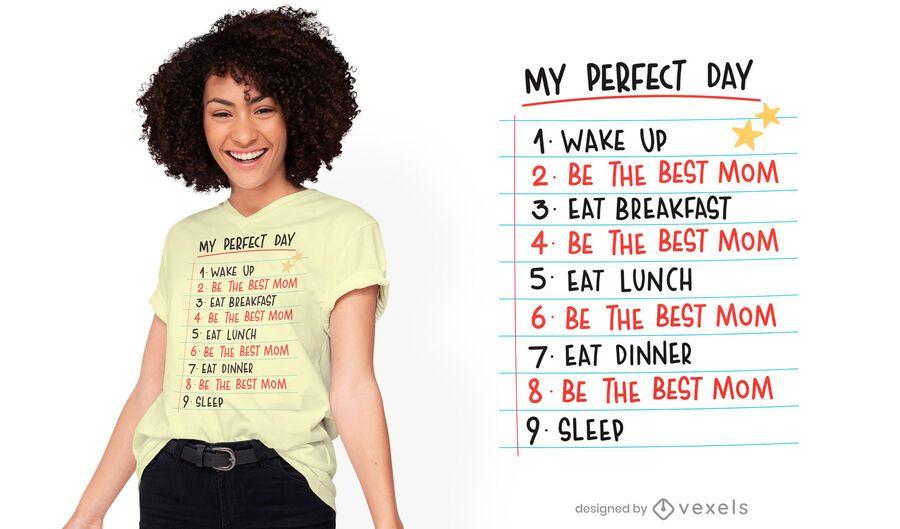 Diseño de camiseta de rutina perfecta para el día de la madre.