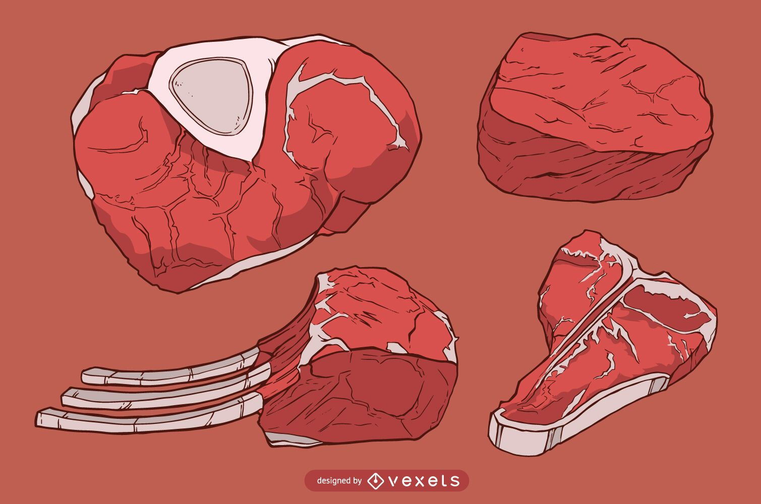 Ilustración de rodajas de filete de carne roja