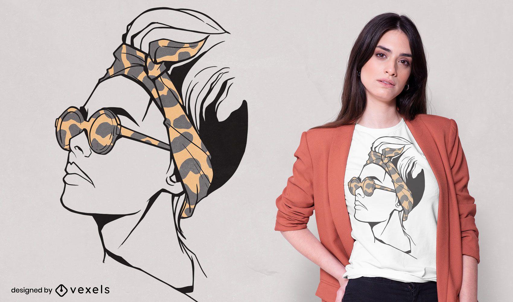 Diseño de camiseta de diadema y gafas de mujer.