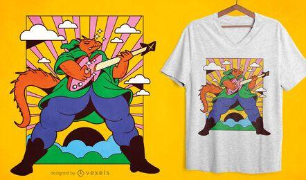 Diseño de camiseta de guitarrista de lagarto mago.