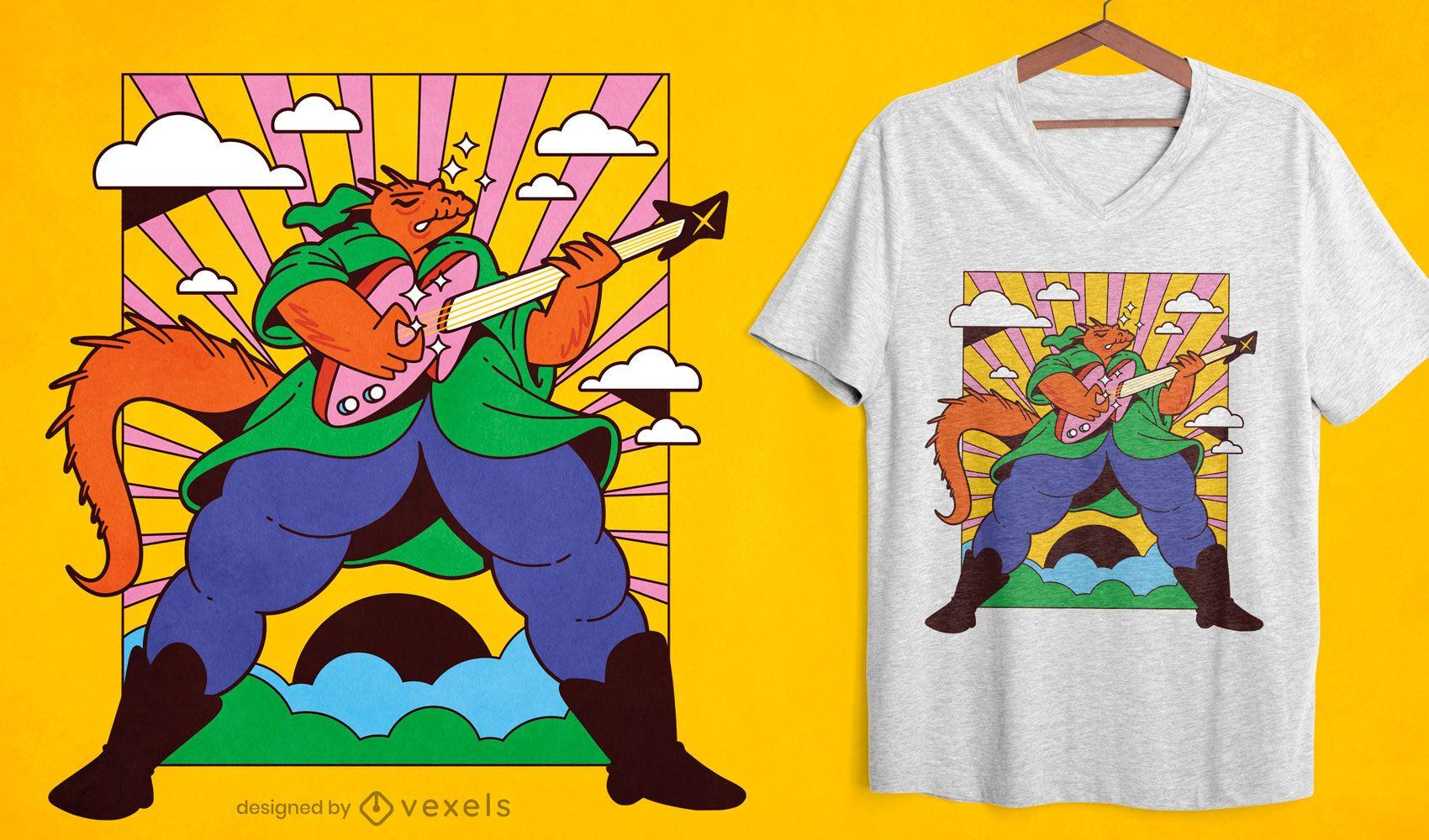 Wizard lizard guitarist t-shirt design