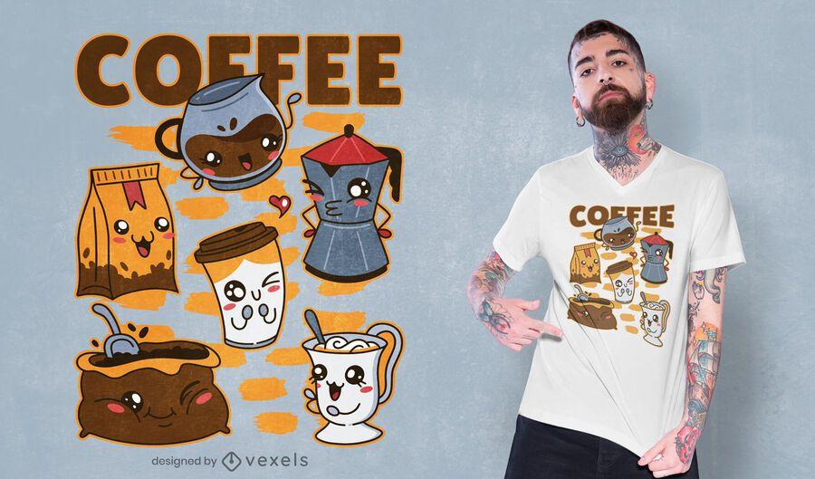 Diseño de camiseta kawaii set de bebida de café