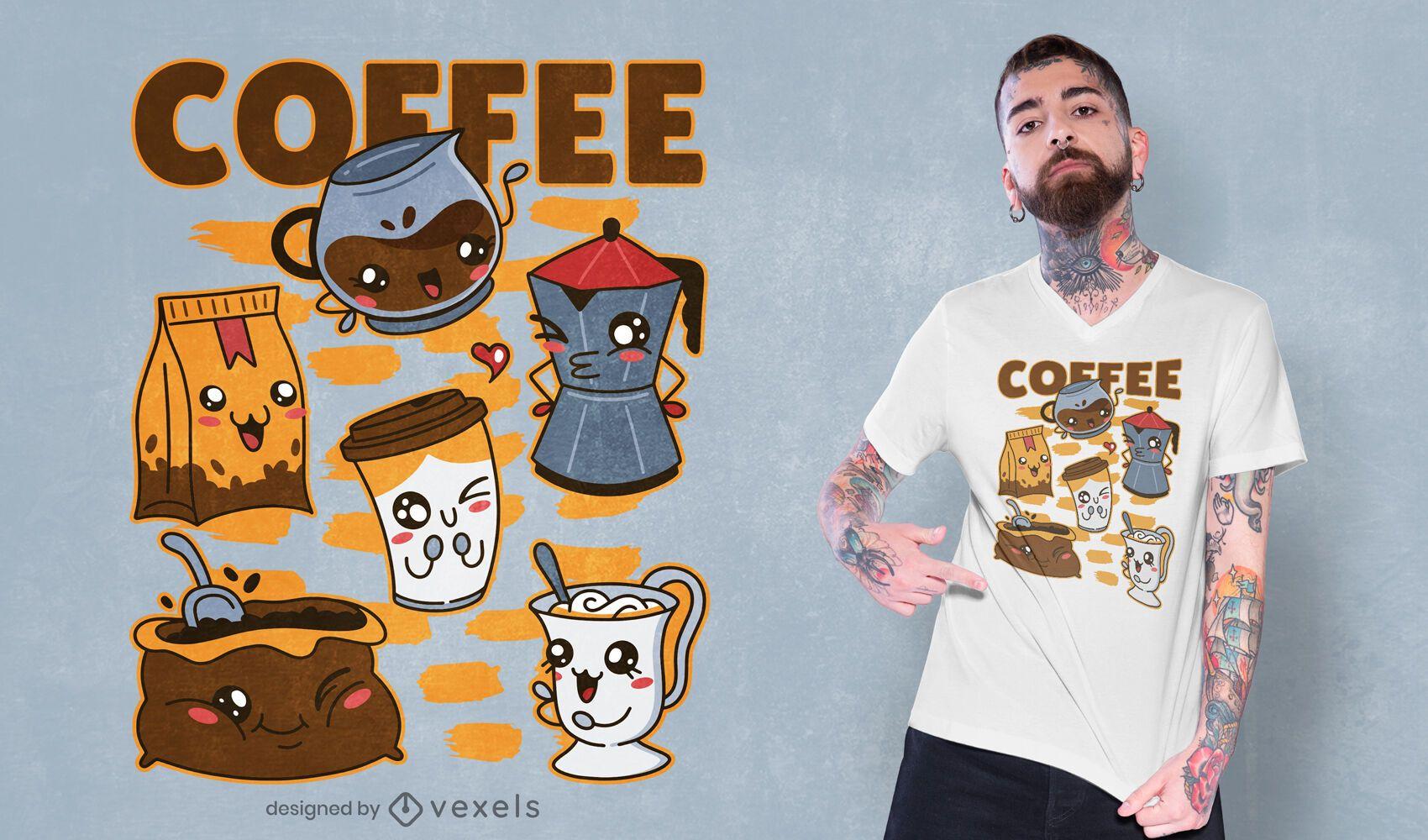 Conjunto de café e bebida com design de camiseta kawaii