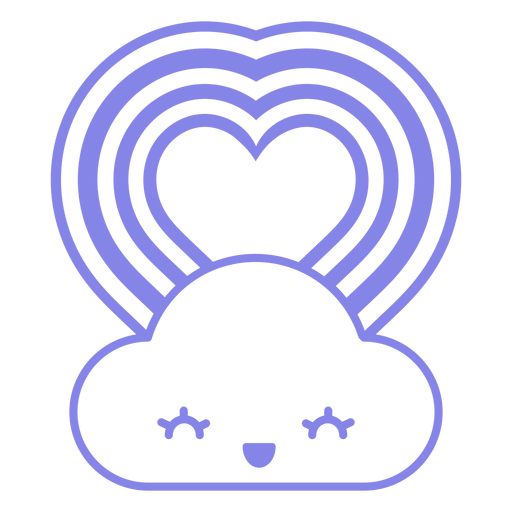 Cloud and heart filled stroke